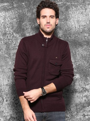 WROGN Solid Round Neck Casual Men's Brown Sweater