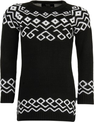 Bells and Whistles Solid Round Neck Casual Baby Girl's Black Sweater