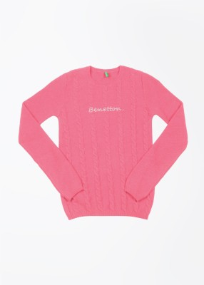 United Colors of Benetton Self Design Round Neck Casual Baby Girl's Pink Sweater