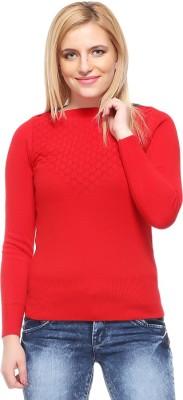 Fasnoya Self Design Round Neck Casual Women's Red Sweater