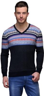 Tailor Craft Printed V-neck Casual Men's Black Sweater