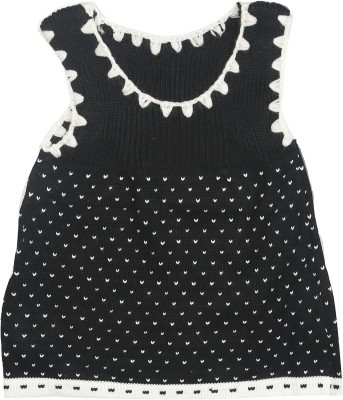 Camey Solid Round Neck Casual Baby Girl's Black Sweater