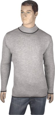 Nolex Self Design Turtle Neck Casual Men's Grey, Black Sweater