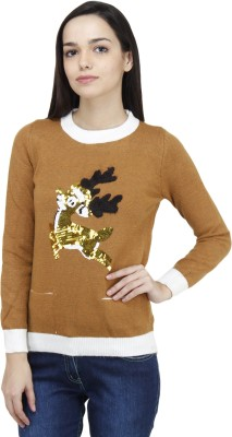 Camey Embellished Round Neck Casual Women's Yellow Sweater