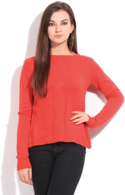 Elle Solid Casual Women's Red Sweater