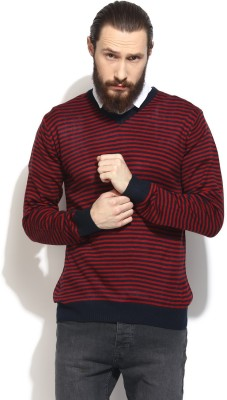 COBB Striped V-neck Casual Men's Red Sweater