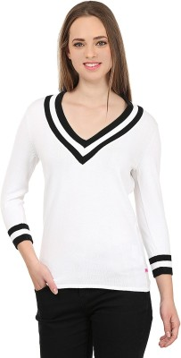 United Colors of Benetton Solid V-neck Casual Women's Black, White Sweater