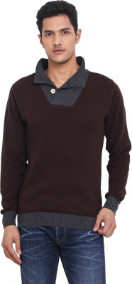 Northern Lights Solid V-neck Casual Men's Brown, Grey Sweater
