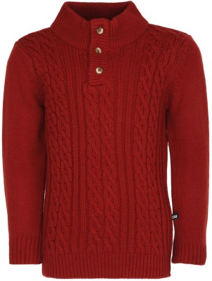 Bells and Whistles Solid Turtle Neck Baby Girl's Red Sweater