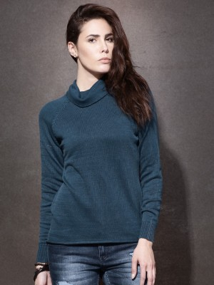 Roadster Solid Turtle Neck Casual Women's Blue Sweater