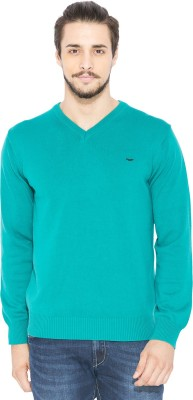 Status Quo Solid V-neck Casual Men's Green Sweater