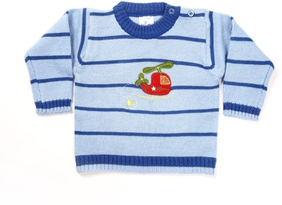 Zonko Style Striped Round Neck Casual Boy's Blue Sweater