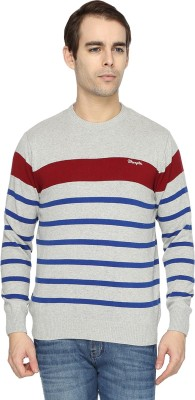 Wrangler Striped Round Neck Casual Men's Grey Sweater
