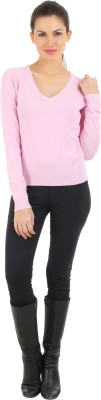 FashionHaven Solid Round Neck Casual Women's Pink Sweater