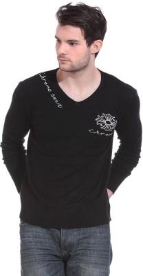Claude 9 Solid V-neck Casual Men's Black Sweater