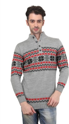 BRAVEZI Graphic Print Turtle Neck Casual Men,s Grey, Red Sweater
