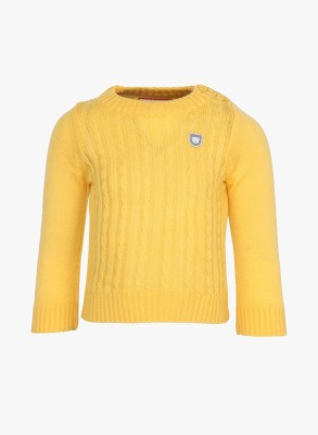 Baby League Self Design Round Neck Casual Baby Girl's Yellow Sweater