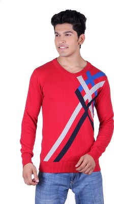Ogarti Solid, Striped V-neck Casual Men,s Red, Grey Sweater