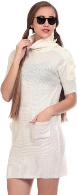 Saiints Solid Turtle Neck Casual Women's Beige Sweater