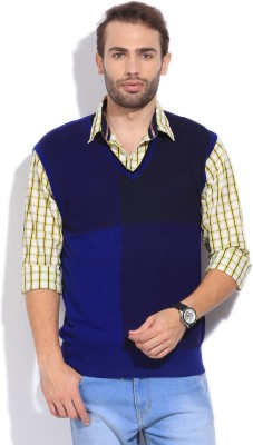 Arrow New York Solid V-neck Casual Men's Blue Sweater