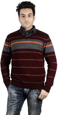 Numero Uno Striped V-neck Casual Men's Maroon Sweater