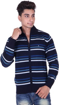 True Life Striped Turtle Neck Casual Men's Blue Sweater