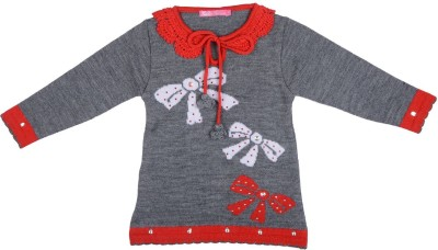 Palmer Solid Round Neck Girl,s Grey Sweater
