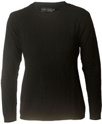 Prrem's Solid Round Neck Casual Women's Black Sweater