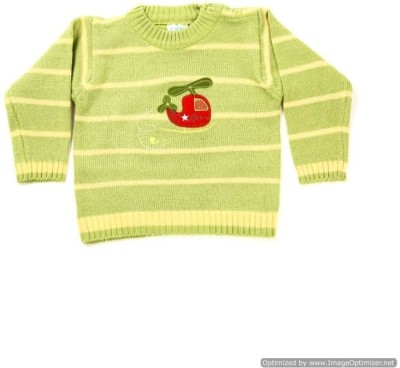 Zonko Style Striped Round Neck Casual Boy's Light Green Sweater