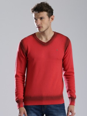 WROGN Solid V-neck Casual Men's Red Sweater