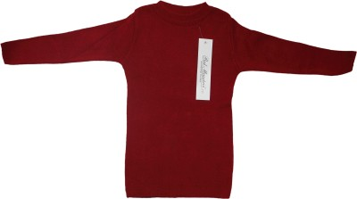 Mankoose Solid Round Neck Casual Baby Boy's Red Sweater