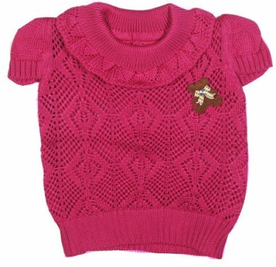 Icable Self Design Round Neck Wedding, Casual, Party, Formal, Festive Baby Girl's Red Sweater