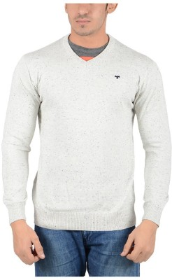 Reveller Solid V-neck Casual Men's Grey Sweater