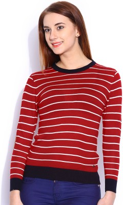 Mast & Harbour Striped Round Neck Casual Women's Red Sweater