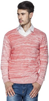Tinted Solid V-neck Casual Men's Red Sweater