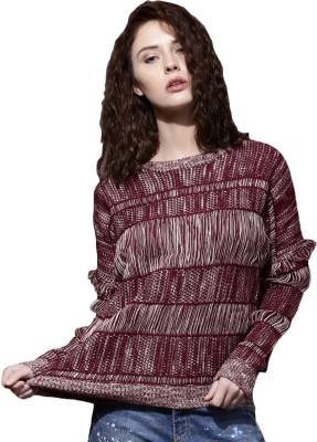 Roadster Self Design Round Neck Casual Women Maroon Sweater at flipkart