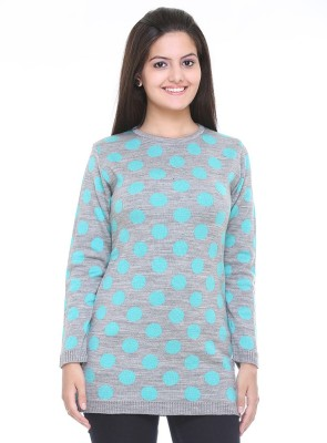 Cee-For Printed Round Neck Casual Women's Grey Sweater