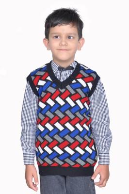 Shaun Striped V-neck Festive Boy's Multicolor Sweater