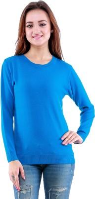 Dove Self Design Round Neck Casual Women's Blue Sweater