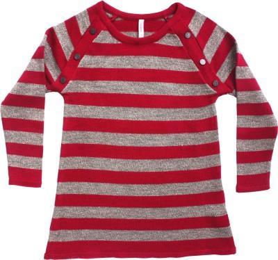 Campana Striped Round Neck Casual Girl's Silver Sweater
