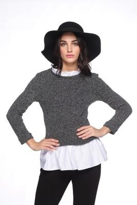 Kay Ti Woven Round Neck Casual Women's Grey Sweater