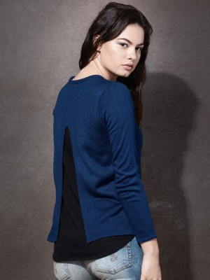 Roadster Solid Round Neck Casual Women's Blue Sweater
