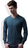 WROGN Solid V-neck Casual Men Blue Sweat...