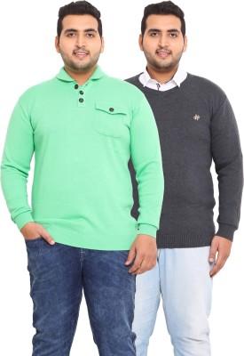 John Pride Solid V-neck Casual Men's Green, Grey Sweater