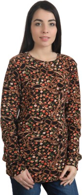 Rute Floral Print Round Neck Casual Women's Brown Sweater