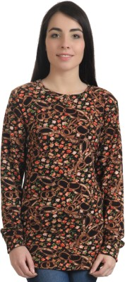 Rute Floral Print Round Neck Party Girl's Brown Sweater