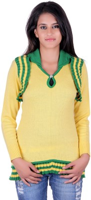 eCools Solid Round Neck Party Women's Yellow, Green Sweater