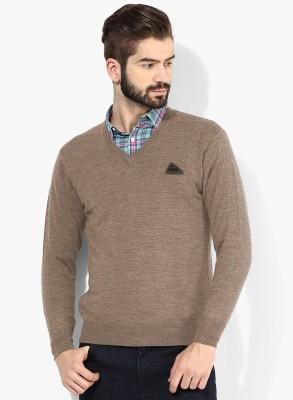Bansal Knitwears Solid V-neck Men's Beige Sweater