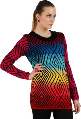 Skidlers Geometric Print Round Neck Casual, Festive, Party Women's Multicolor Sweater