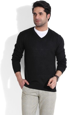 John Players Solid V-neck Casual Men's Black Sweater